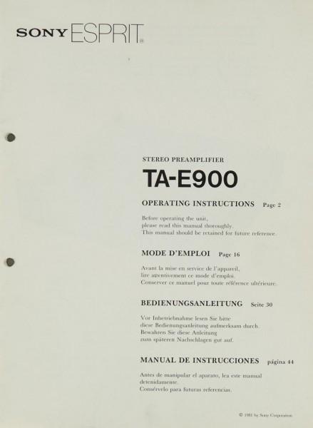 Sony TA-E 900 Bedienungsanleitung