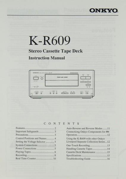 Onkyo K-R 609 Bedienungsanleitung