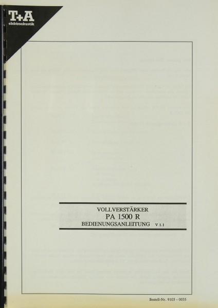 T + A PA 1500 R Bedienungsanleitung