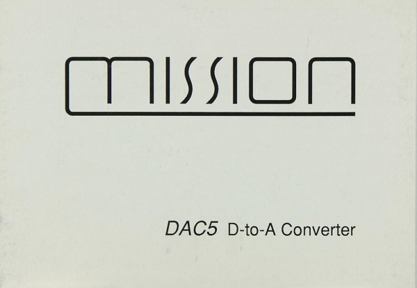 Mission / Cyrus DAC-5 Bedienungsanleitung