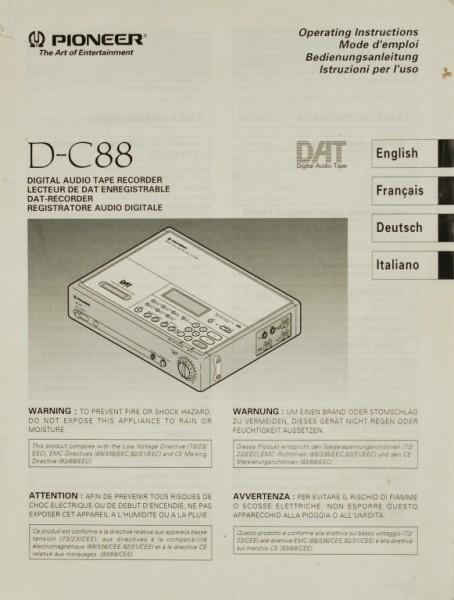 Pioneer D-C 88 Bedienungsanleitung
