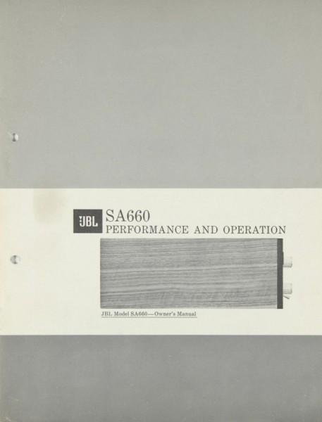 JBL SA 660 Bedienungsanleitung