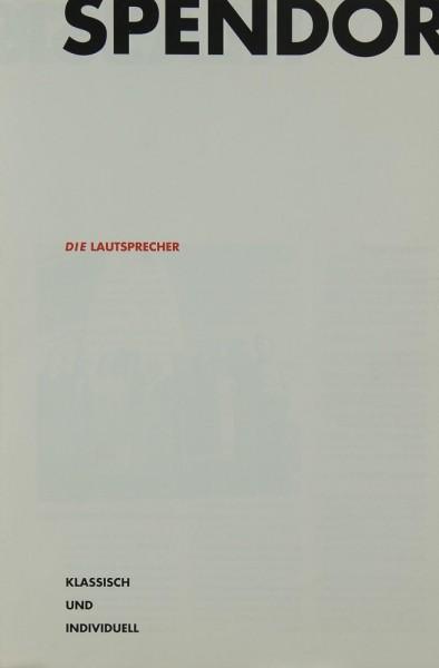 Spendor Die Lautsprecher Prospekt / Katalog