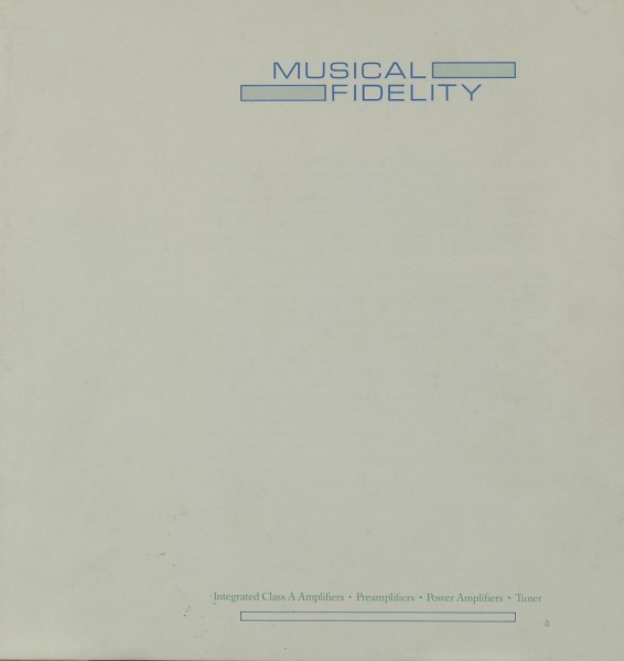 Musical Fidelity Produktübersicht 1986 Prospekt / Katalog