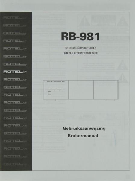Rotel RB-981 Bedienungsanleitung