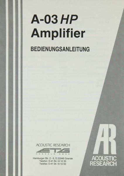 Acoustic Research A-03 HP Bedienungsanleitung