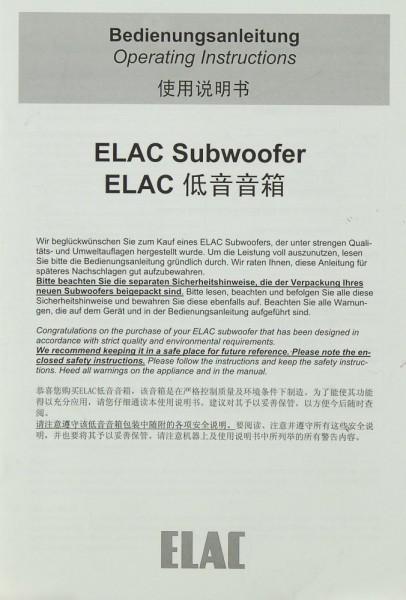 Elac Subwoofer Bedienungsanleitung