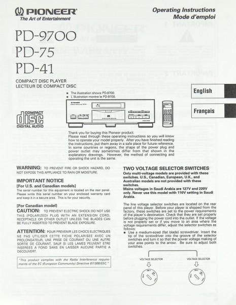 Pioneer PD-9700 / PD-75 / PD-41 Bedienungsanleitung