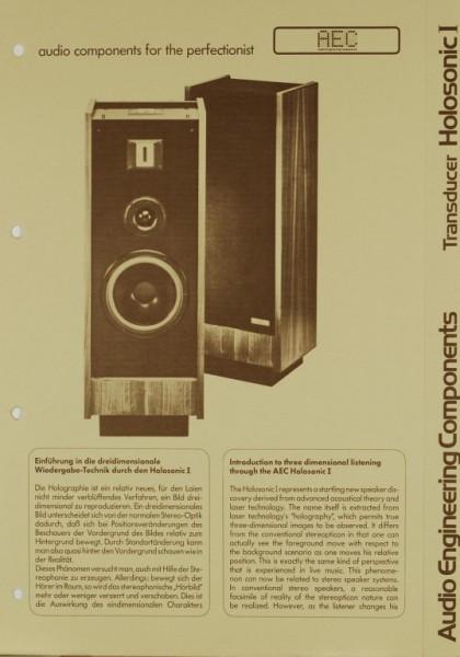 AEC - Audio Engineering Components Transducer Holosonic I Prospekt / Katalog