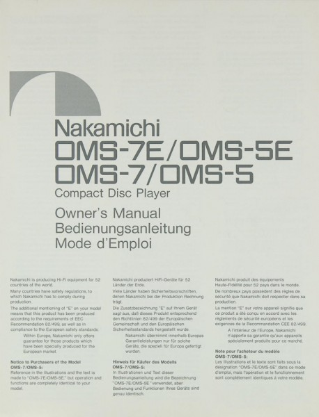 Nakamichi OMS-7 E / OMS-5 E / OMS-7 / OMS-5 Bedienungsanleitung