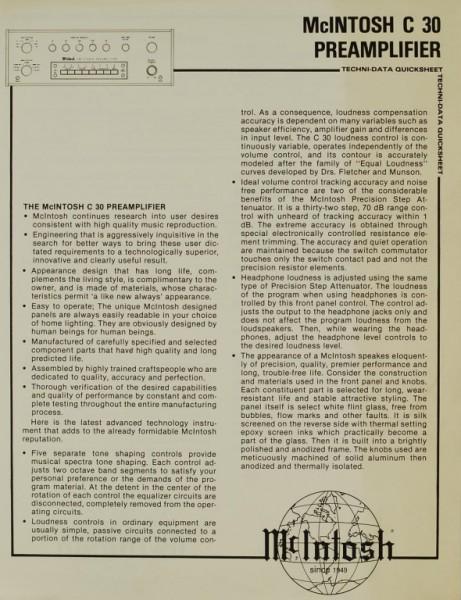 McIntosh C 30 Prospekt / Katalog