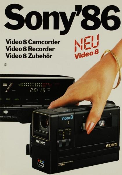 Sony Sony ´86 - Video 8 Camcorder / Recorder / Zubehör Prospekt / Katalog