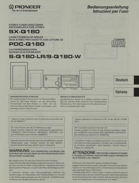 Pioneer SX-Q 180 / PDC-Q 180 / S-Q 180-LR / S-Q 180-W Bedienungsanleitung