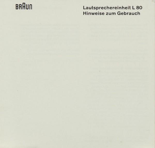 Braun L 80 Bedienungsanleitung
