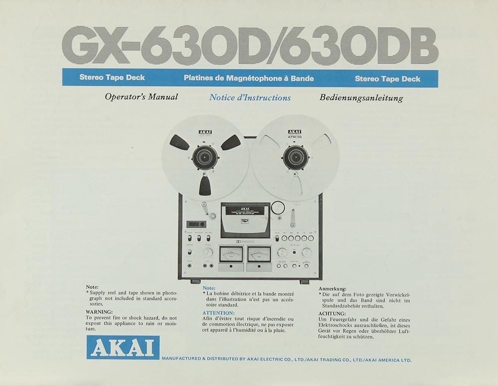 Akai GX-630 D / 630 DB Bedienungsanleitung | Tonbandgeräte | Akai ...
