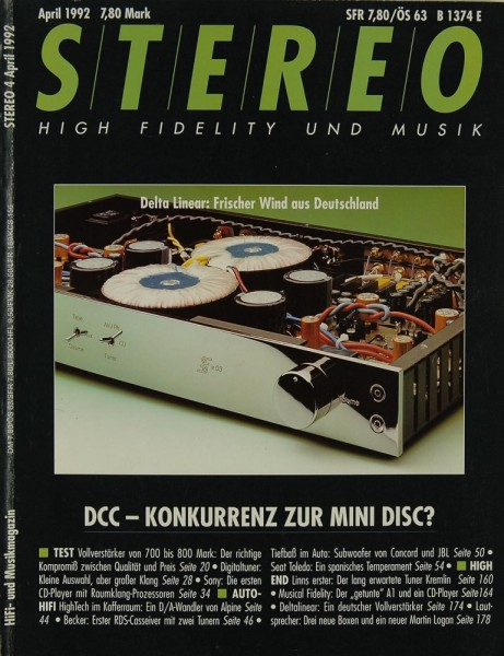 Stereo 4/1992 Zeitschrift