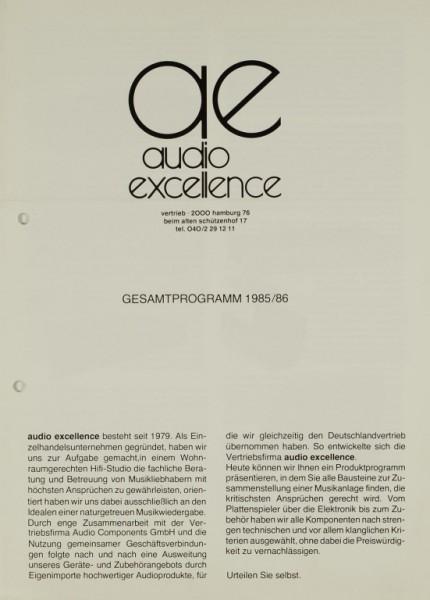audio excellence Gesamtprogramm 1985/86 Prospekt / Katalog
