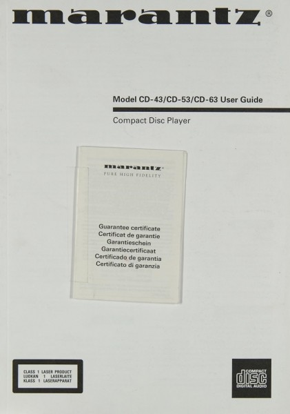 Marantz CD-43 / CD-53 / CD-63 Bedienungsanleitung