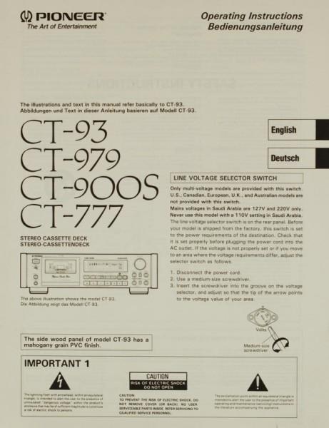 Pioneer CT-93 / CT-979 / CT-900S / CT-777 Bedienungsanleitung