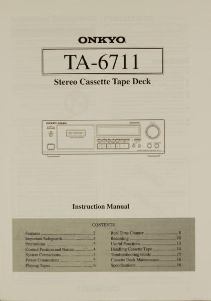 Onkyo TA-6711 Bedienungsanleitung
