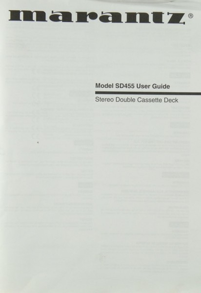 Marantz Model SD 455 Bedienungsanleitung