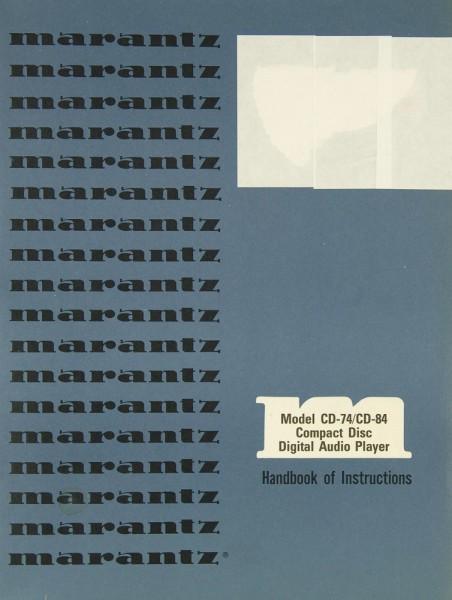 Marantz CD-74 / CD-84 Bedienungsanleitung