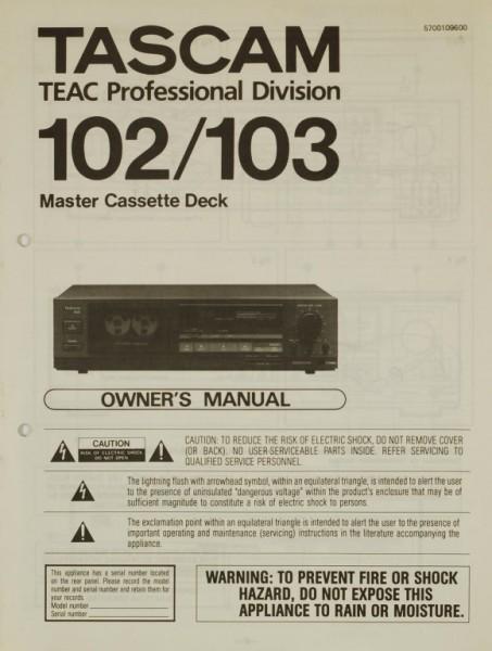 Tascam 102 / 103 Bedienungsanleitung