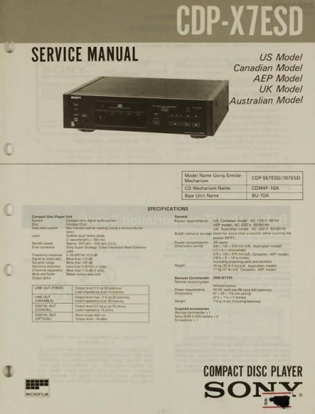 Sony CDP-X 7 ESD Schaltplan / Serviceunterlagen