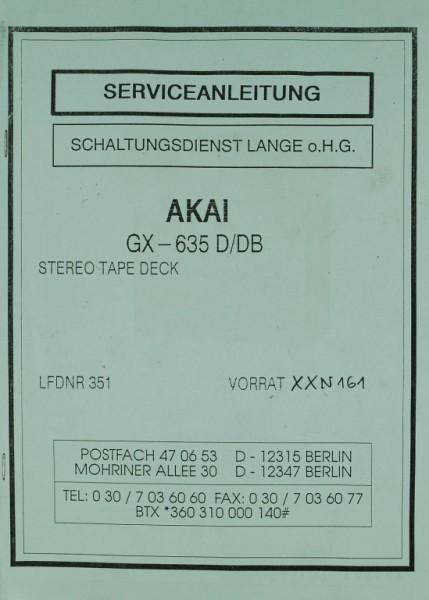 akai gx 635 d db schaltplan serviceunterlagen tonband. Black Bedroom Furniture Sets. Home Design Ideas