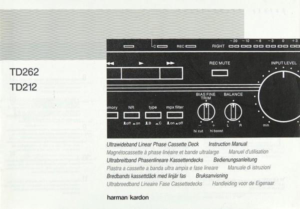 Harman / Kardon TD 262 / TD 212 Bedienungsanleitung