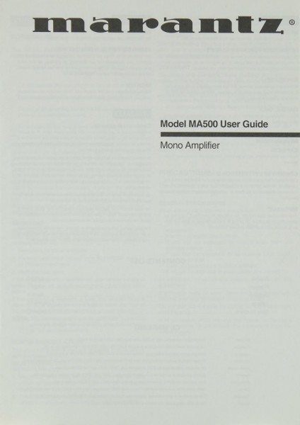 Marantz MA 500 Bedienungsanleitung