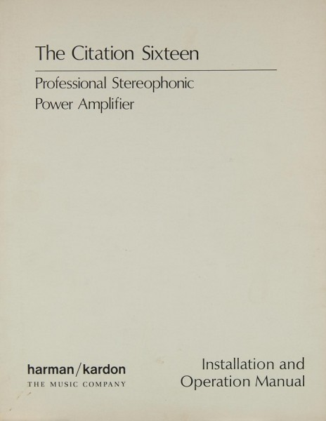 Harman / Kardon Citation 16 Bedienungsanleitung