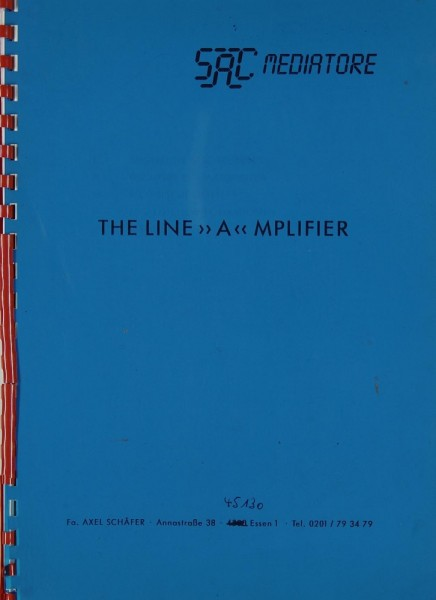 "SAC-Mediatore The Line ""A""mplifier Bedienungsanleitung"