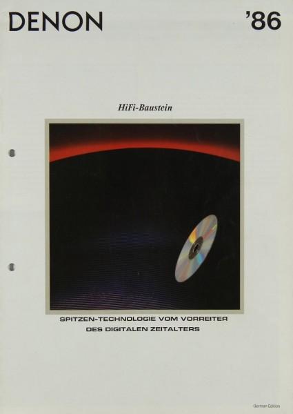 Denon Lieferübersicht 1986 Prospekt / Katalog