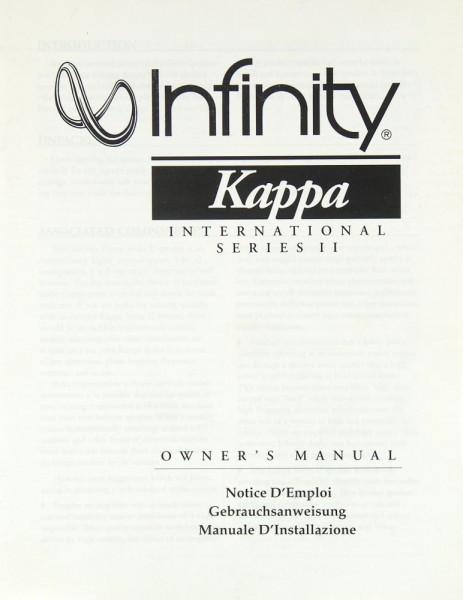 Infinity Kappa Serie II Bedienungsanleitung