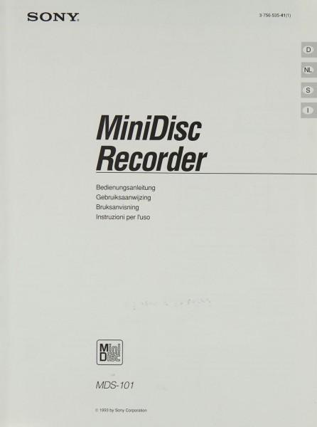 Sony MDS-101 Bedienungsanleitung