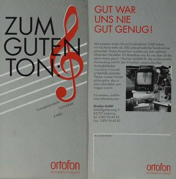 Ortofon Zum guten Ton Prospekt / Katalog