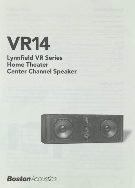Boston Acoustics VR 14 (Lyynfield VR Series) Bedienungsanleitung
