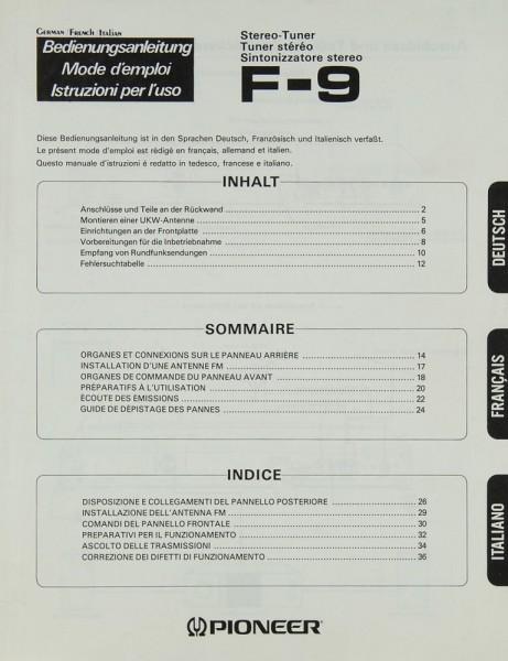 Pioneer F-9 Bedienungsanleitung