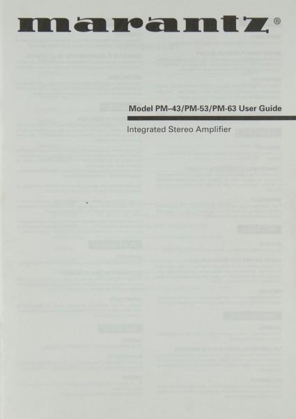 Marantz PM-43 / PM-53 / PM-63 Bedienungsanleitung