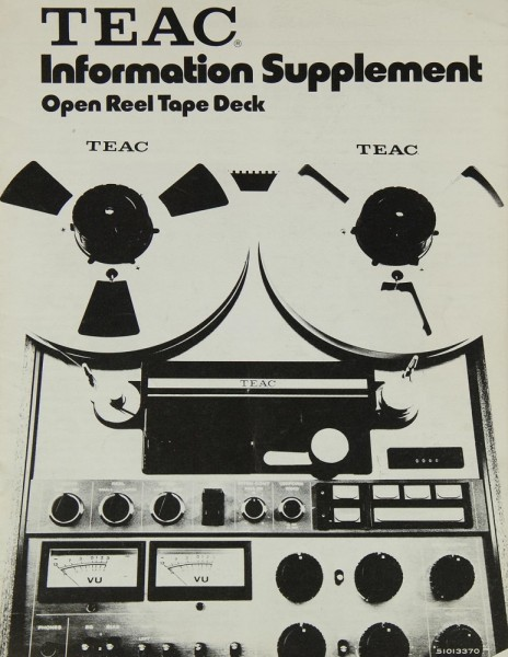 Teac Open Reel Tape Deck / Information Supplement Bedienungsanleitung