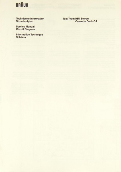 Braun C 4 Schaltplan / Serviceunterlagen