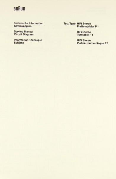 Braun P 1 Schaltplan / Serviceunterlagen