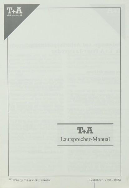 T + A Lautsprecher Manual (1994) Bedienungsanleitung