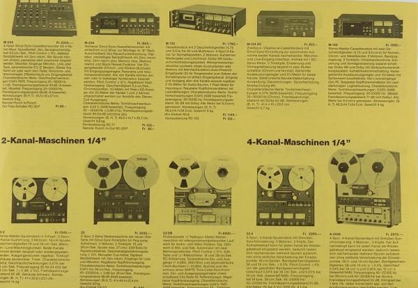 Teac Verschiedene Tonbandgeräte Prospekt / Katalog