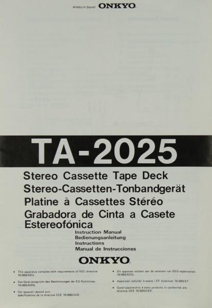 Onkyo TA-2025 Bedienungsanleitung