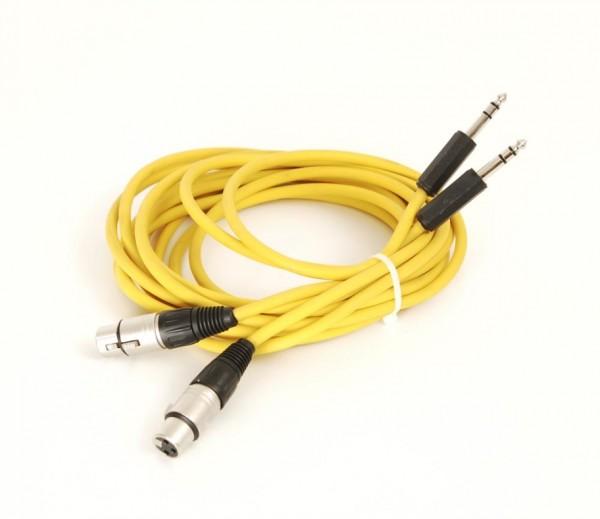 Kabel XLR-Buchsen (Neutrik) auf 6.35 mm Klinkenstecker 3.0 m