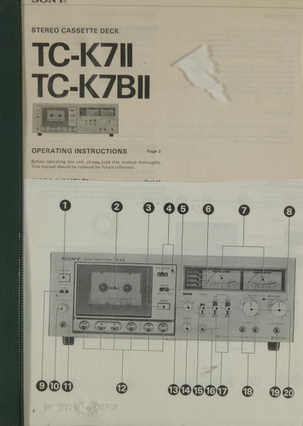 Sony TC-K 7 II / TC-K 7 B II Bedienungsanleitung