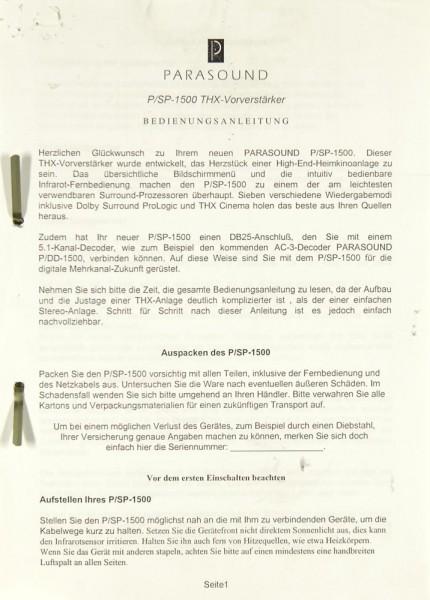 Parasound P/SP-1500 THX Bedienungsanleitung