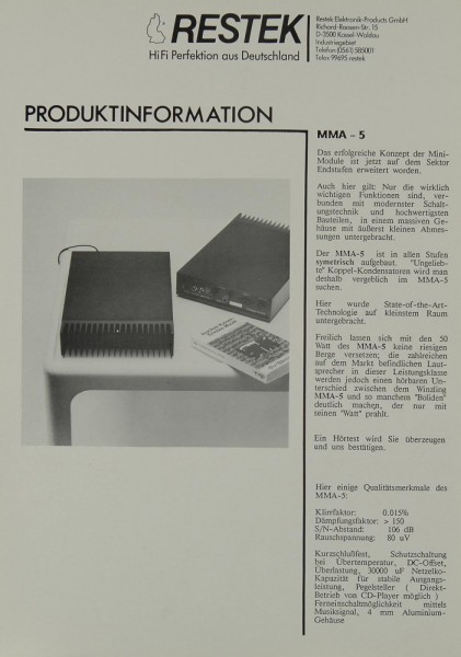 Restek MMA-5 Prospekt / Katalog
